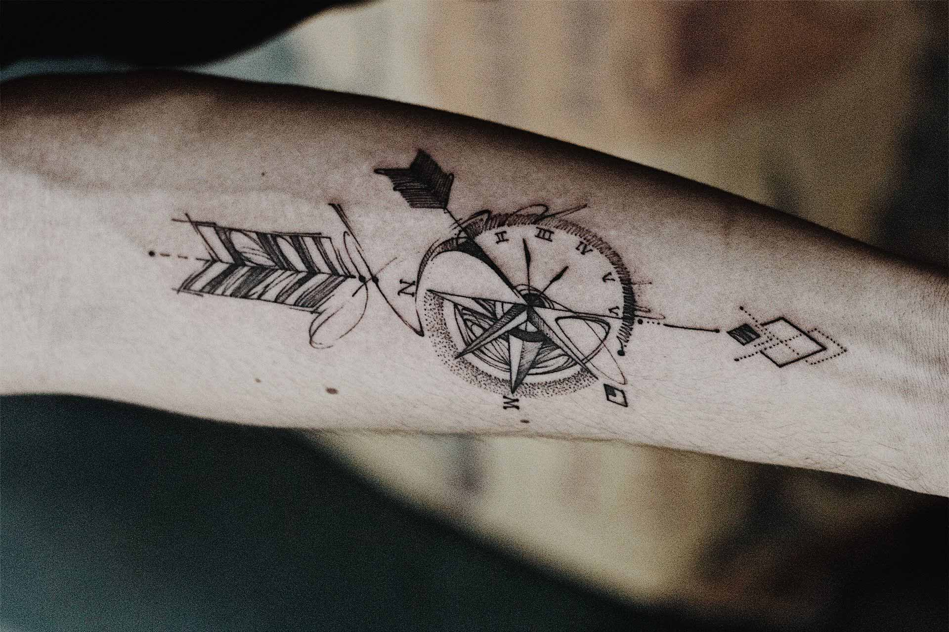 9a707413d66a7 120 Best Compass Tattoos for Men | Improb