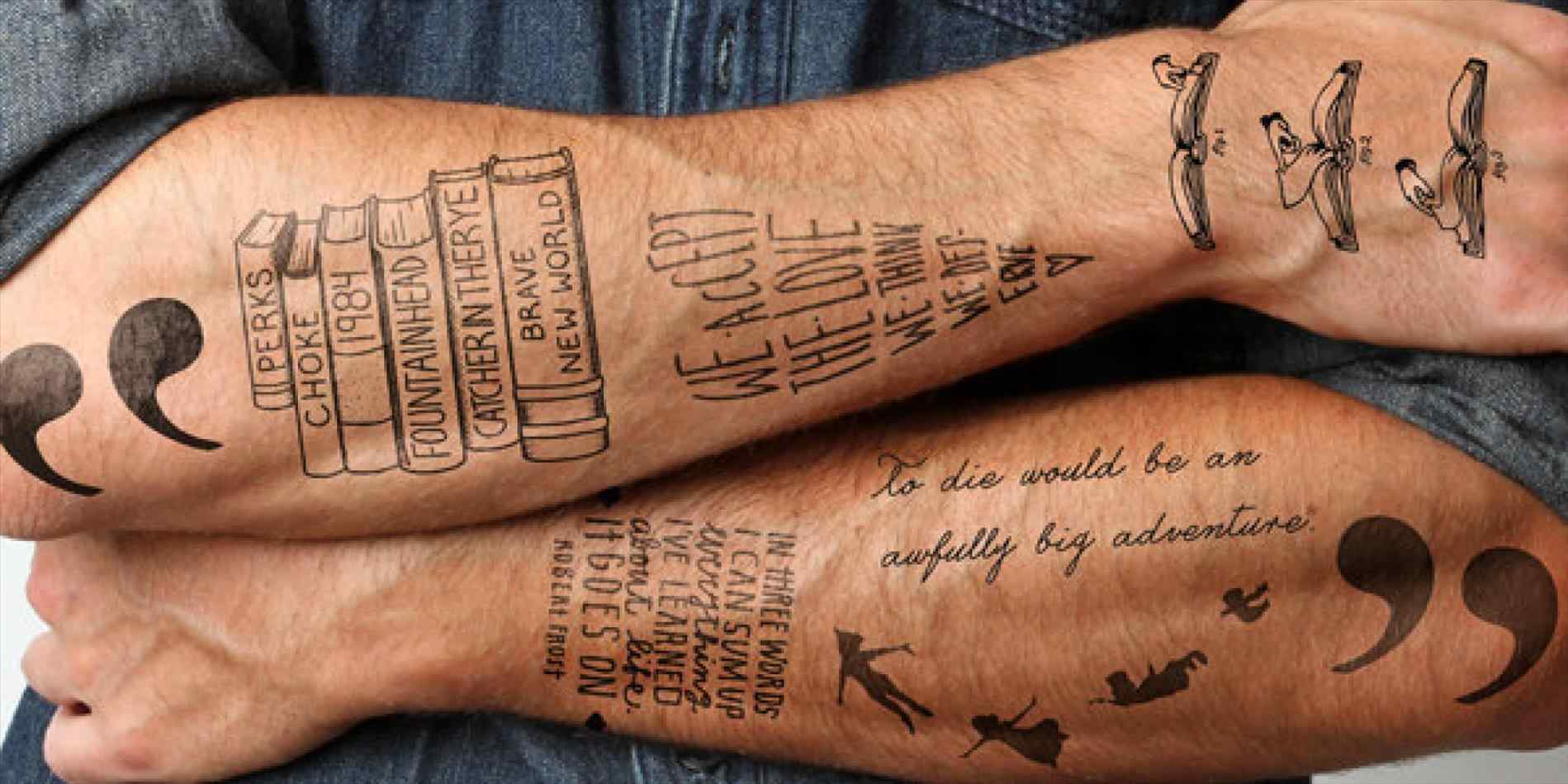 books and quotes leg tattoo for guys