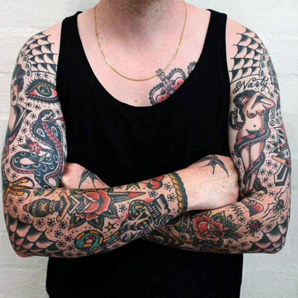 Identical Spider Web Shoulder Tattoos Paired with Full Sleeves