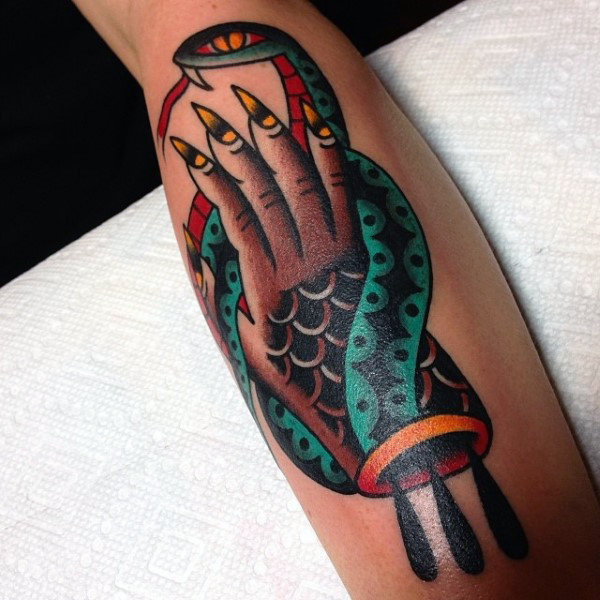 Serpents Tongue and Scaley Hand Traditional Tattoo