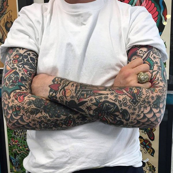 Two Full Sleeves of Miniature Traditional Tattoos