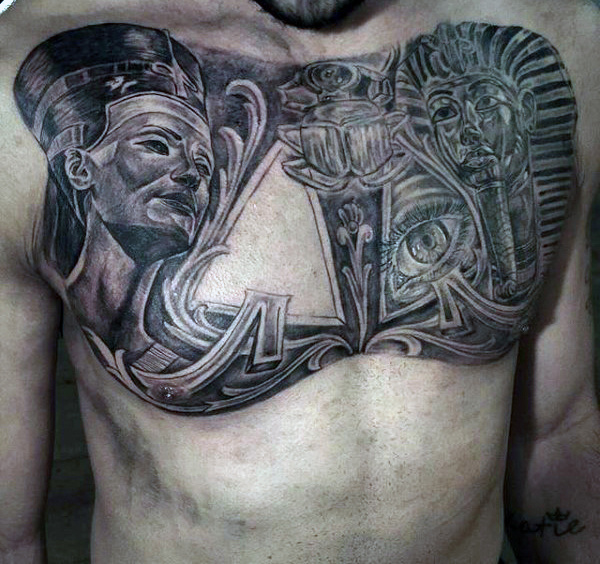 Chest Tattoo Idea for Men Looking into Egyptian Tattoos