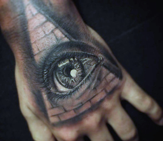 Hand Tattoo of an Egyptian Eye Against a Pyramid