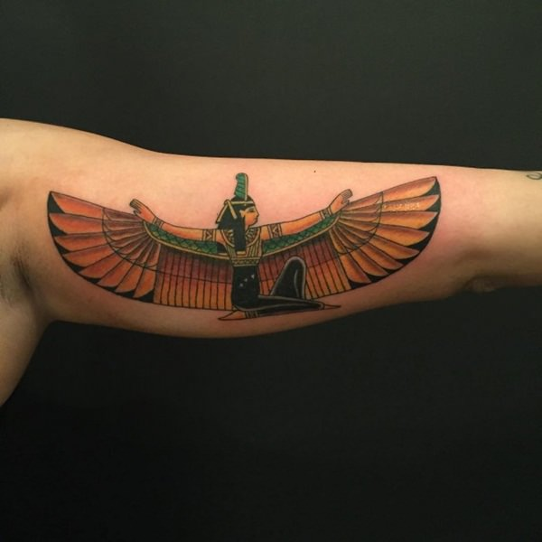 Inner Bicep Tattoo of a Pharaoh Spreading Wings