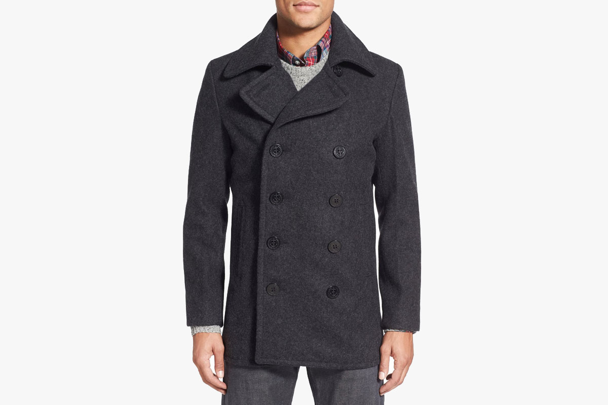 Schott Slim Fit Wool Blend Peacoat